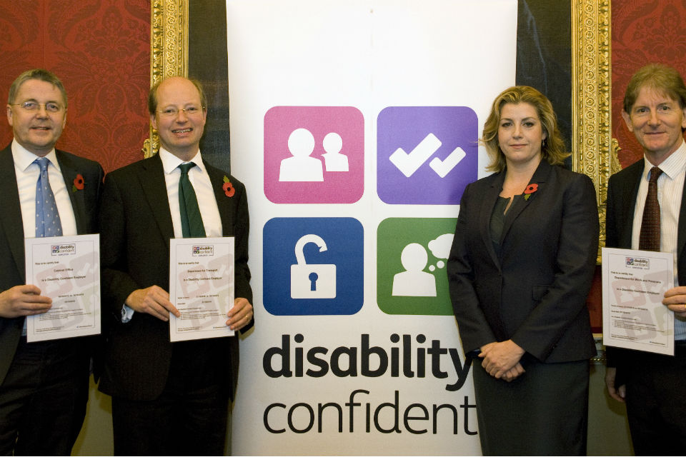 (From left to right) Jeremy Heywood, Philip Rutnam, Penny Mordaunt and Robert Devereux at the Disability Confident commitment meeting