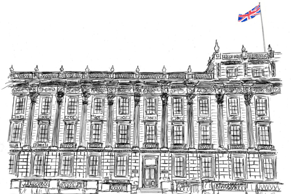 Line drawing of building with union flag top right