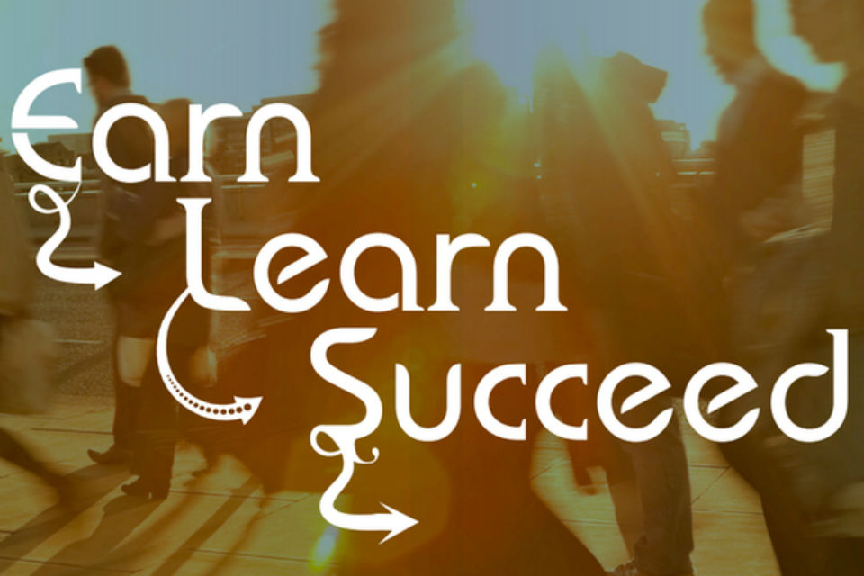 Earn, Learn, Succeed legend superimposed on image of young people