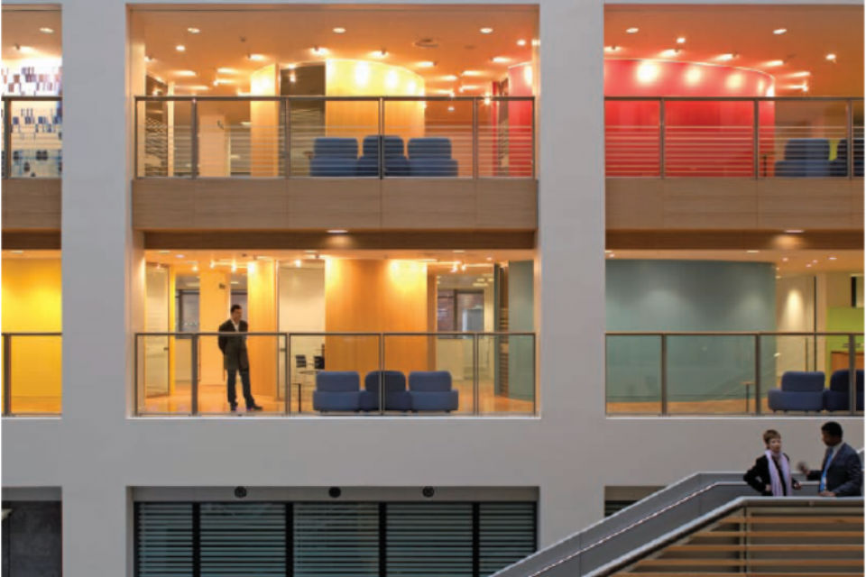 View of offices and staircase in office building