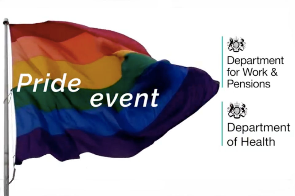 Pride flag and government department logos alongside