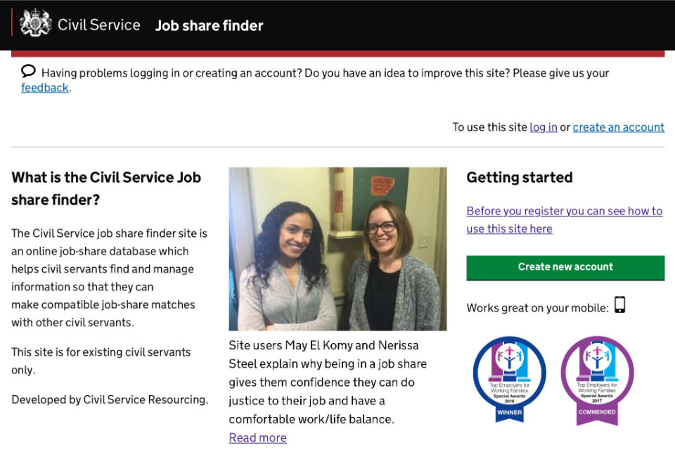 Civil Service job share finder home page