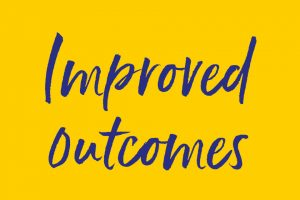 'Improved outcomes' graphic with handwritten legend