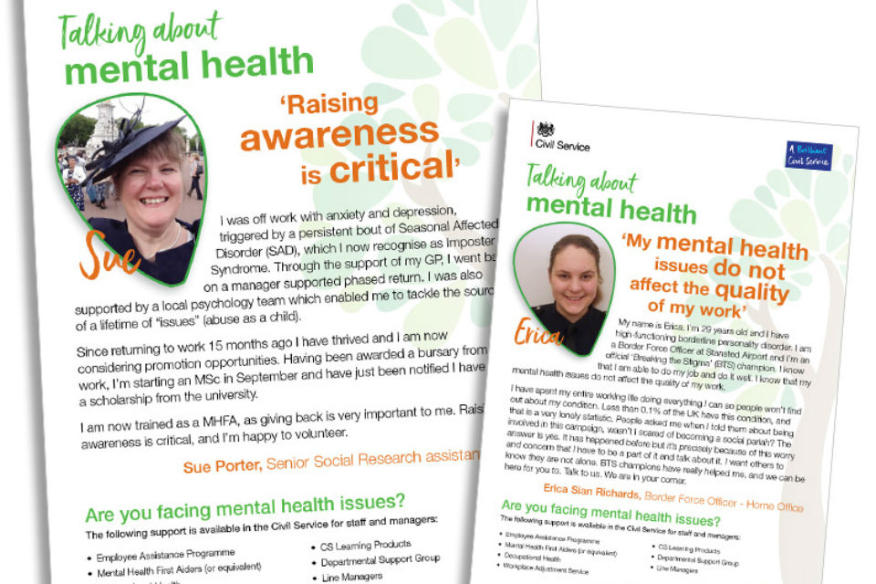 Two posters on issue of mental health