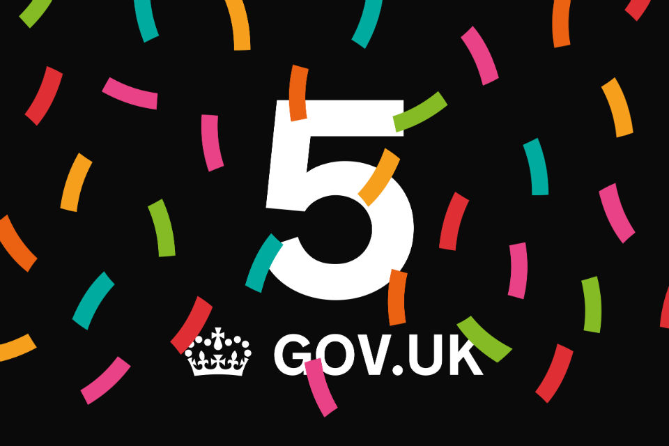 Graphic showing confetti and celebrating GOV.UK's 5th birthday