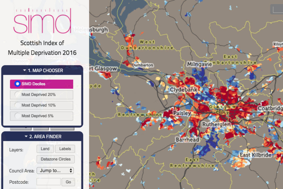 Screenshot of data website with map