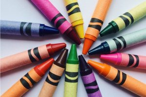Set of coloured wax crayons