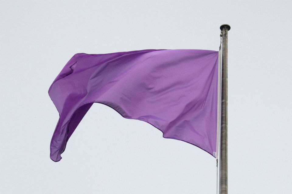 Purple flag on flagpole