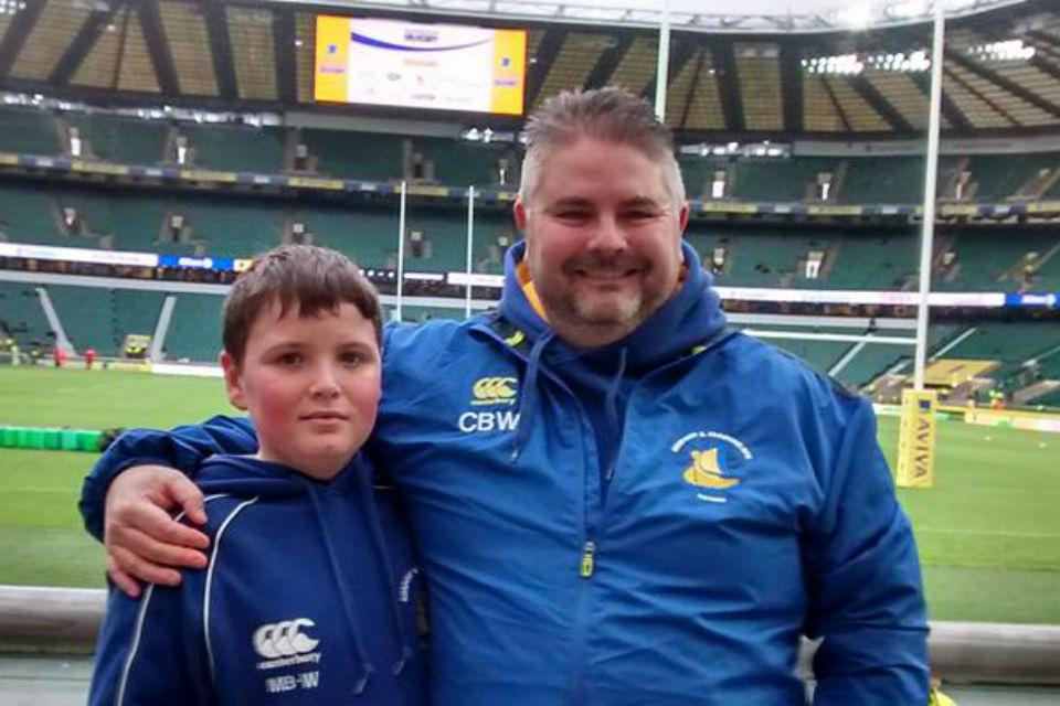 Father and son at Twickenham stadium