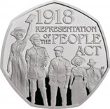 50p coin commemorating votes for women centenary