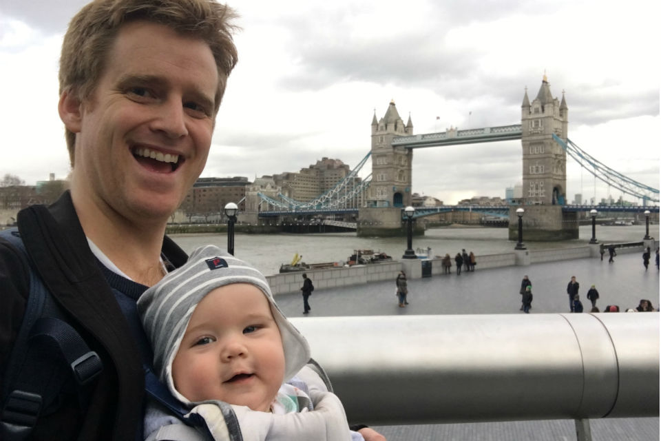 Father and baby son by Tower Bridge
