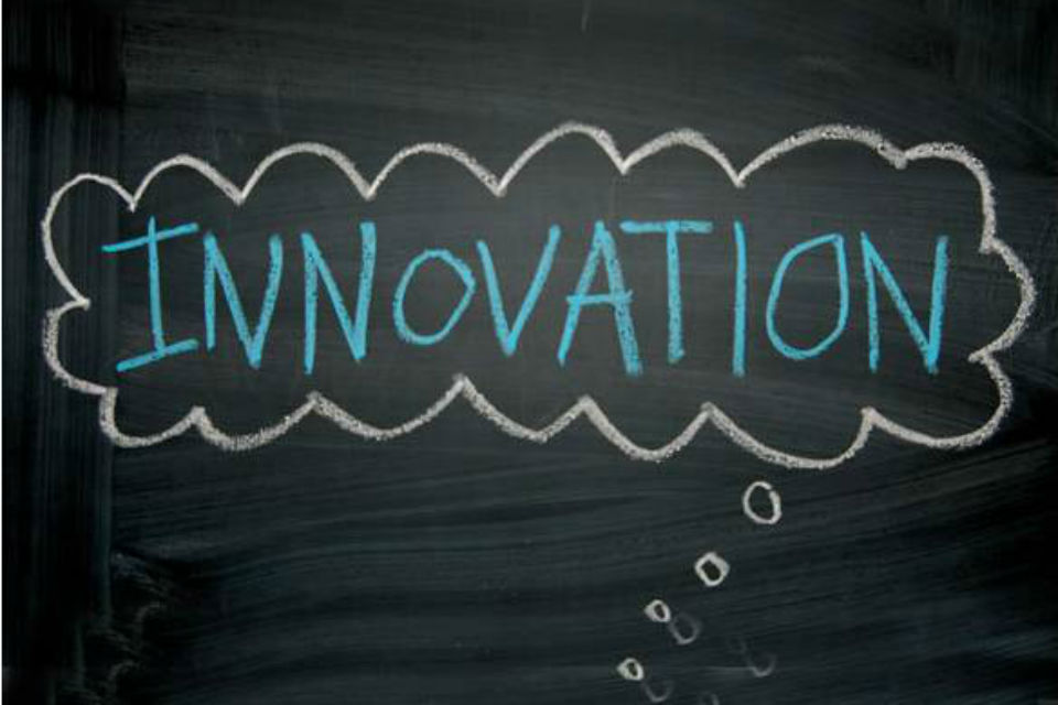 Blackboard with 'Innovation' thought bubble