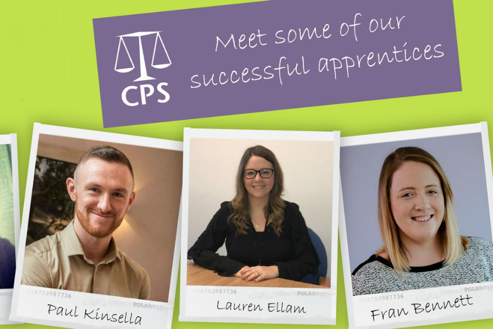 Pictures of three Crown Prosecution Service apprentices