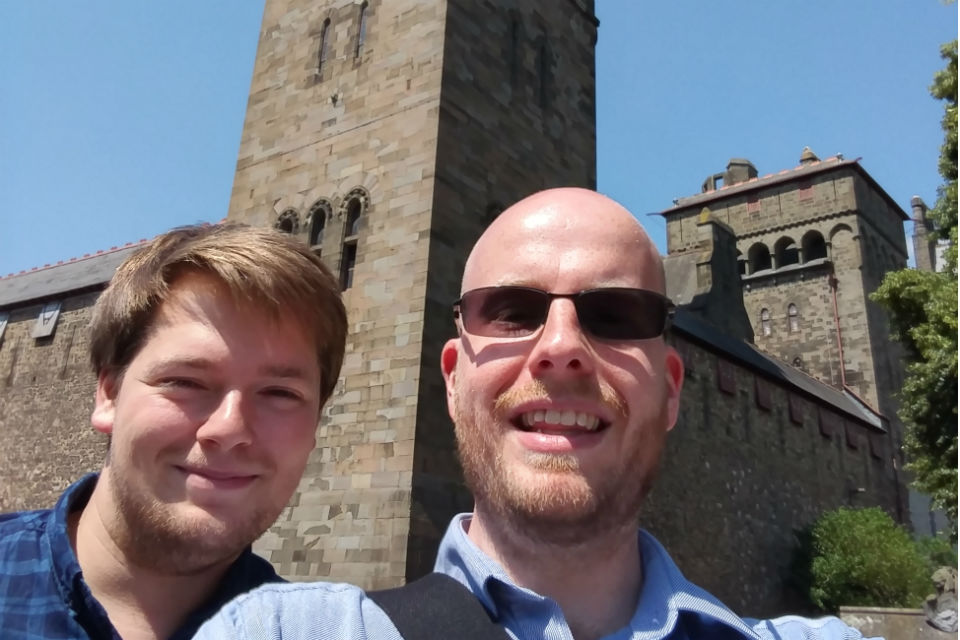 Two men outside Cardiff Castle