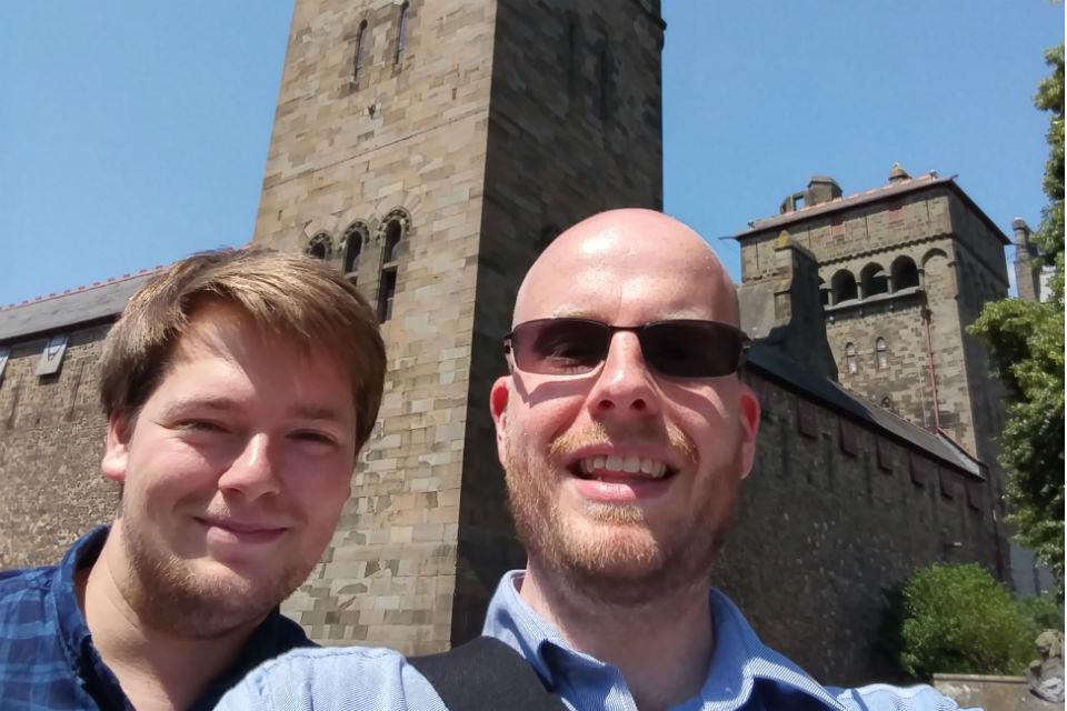 Two men outside Cardiff Castle