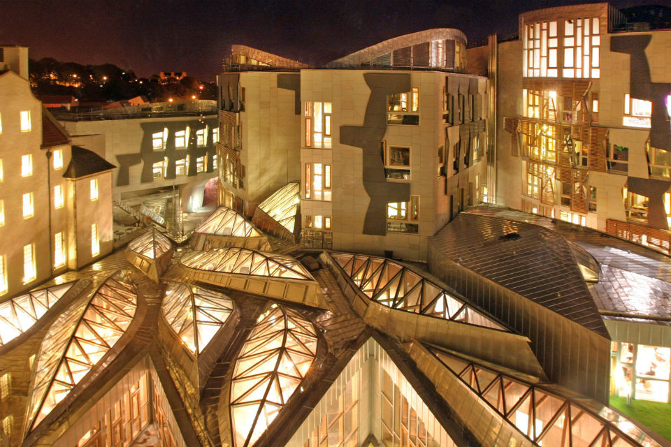 View of Scottish Parliament at night