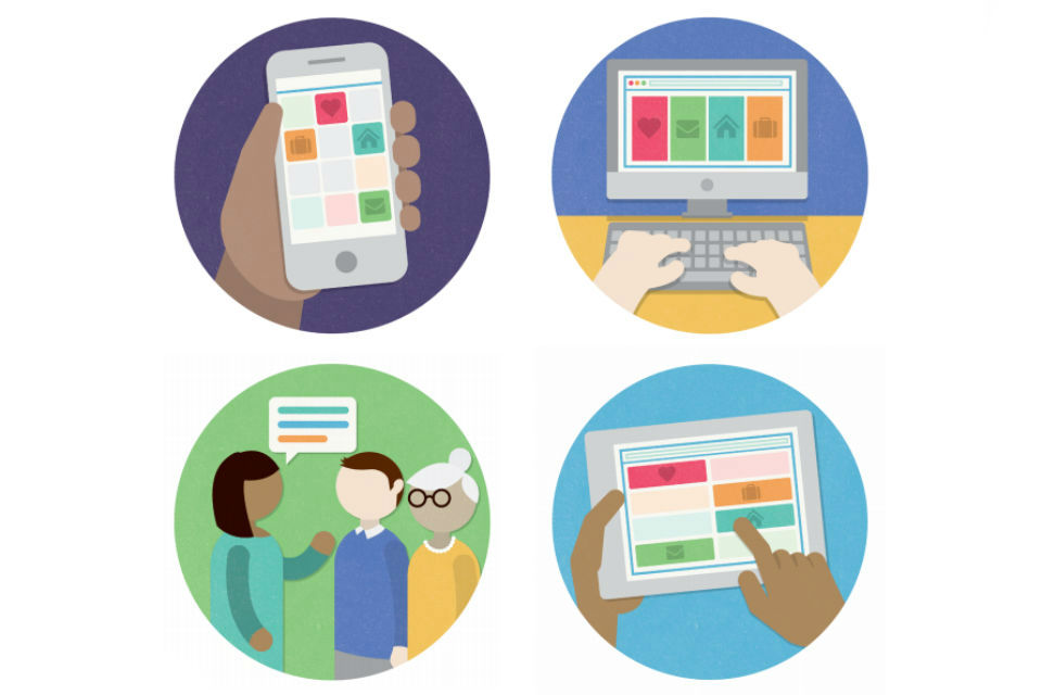 Four graphics illustrating different forms of communication, from verbal to digital, on different devices