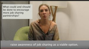 Screenshot from job share promotion video, featuring Antonia Romeo