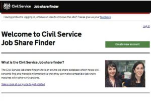 Screenshot of Job Share Finder home page