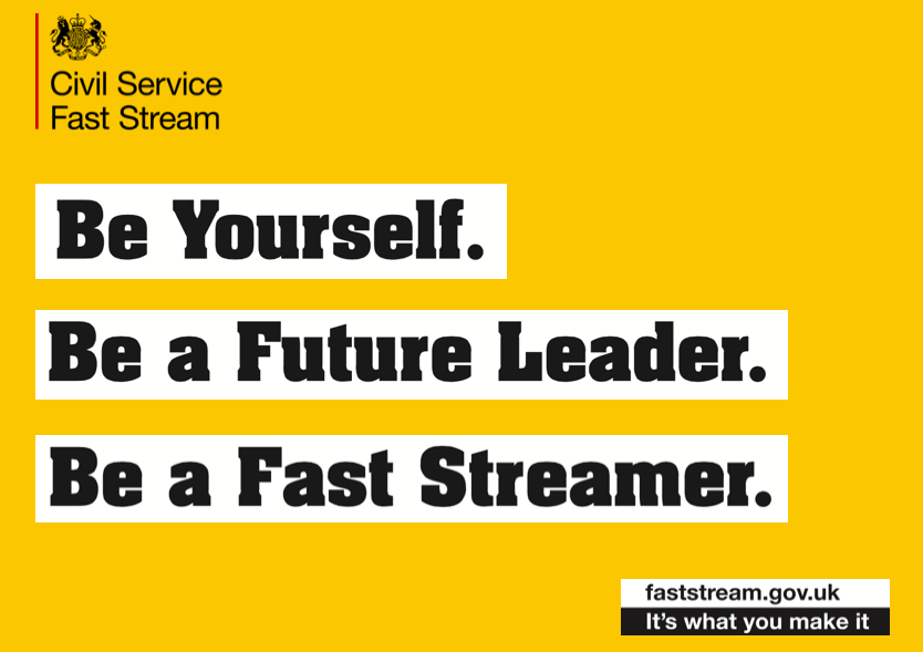 Graphic promoting the Civil Service Fast Stream
