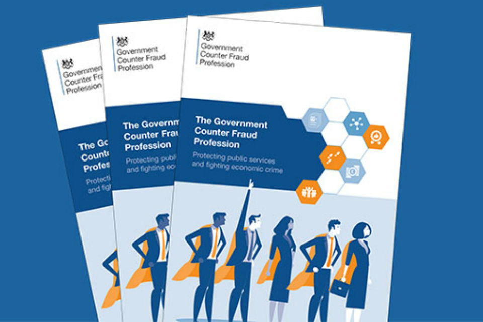 Three Government Counter Fraud Profession leaflets arranged together