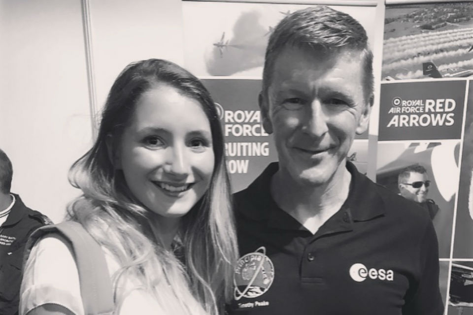 Roby Haigh standing side by side with astronaut Tim Peake