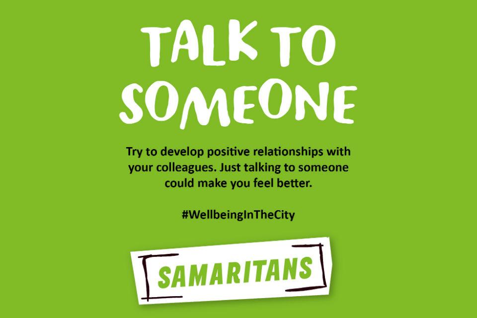 Samaritans 'Talk to someone' graphic