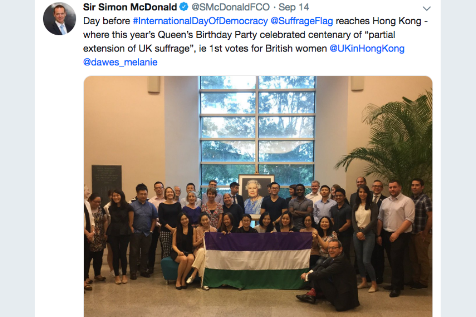 Tweet from Sir Simon McDonald on the Suffrage Flag relay reaching Hong Kong