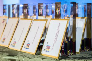 Award winner envelopes and trophies