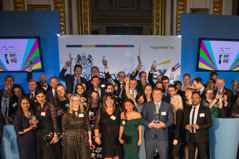 Winners of the 2018 Civil Service Awards on stage