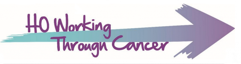 Home Office Working Through Cancer logo, with those words on the tail of an arrow pointing to the right