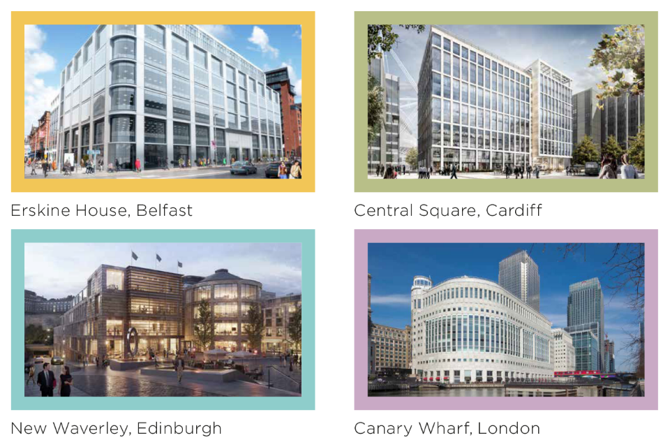 Composite image of four sites of Government Hubs in the capitals of the nations of the UK, showing views of: Erskine House, Belfast; Central Square, Cardiff; New Waverley, Edinburgh; and Canary Wharf London
