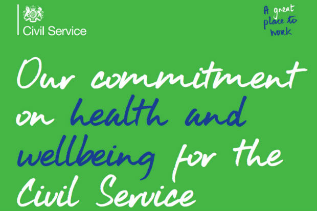 Commitment to Graphic with text: 'Our commitment on health and wellbeing for the Civil Service', with the Civil Service logo and the words 'A great place to work' above.