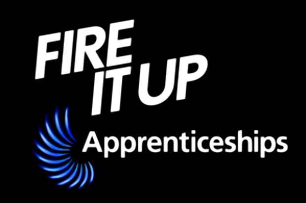 Logo for the Government's Fire It Up apprenticeships promotion campaign, with the words 'Fire It Up' and 'Apprenticeships'
