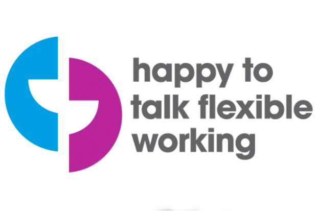 Flexible working logo of the Working Families organisation, comprising two stylised quotation marks and the legend 'happy to talk flexible working'