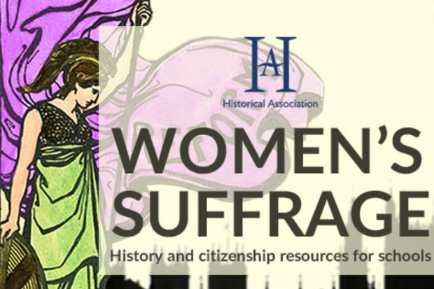 Graphic with the words Historical Association, Women's Suffrage, History and citizenship resources for schools, superimposed on an image of a figure symbolising the suffrage movement, and a silhouette of the Houses of Parliament and Westminster Abbey