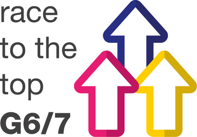 The logo of the Race to the Top G6/G7 network, with the text 'race to the top G6/7' to the left of three upward facing arrows outlined in pink, blue and yellow, respectively.