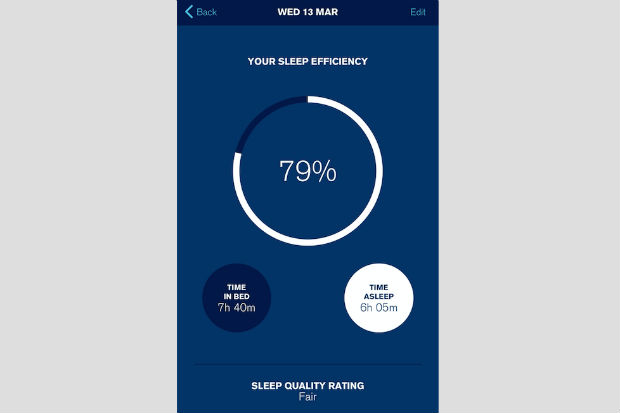 Detail from an app on a smartphone for tracking and managing sleep