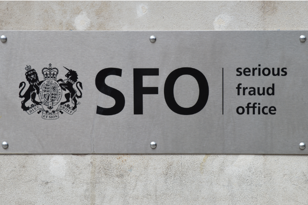Nameplate of the Serious Fraud Office on the wall outside its HQ