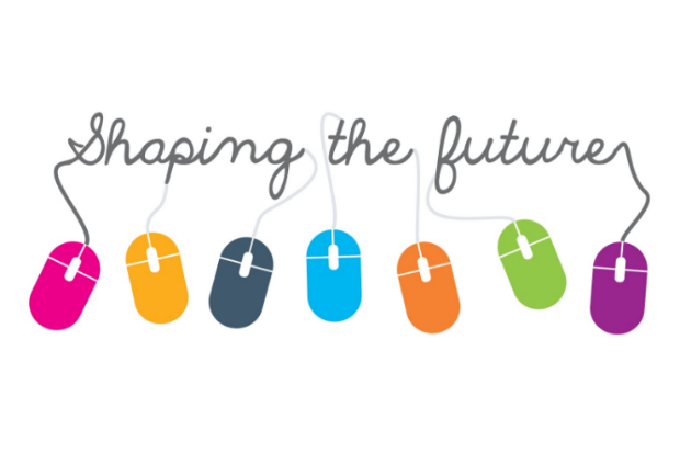 Graphic for the Learning at Work Week 2019 theme, Shaping the Future, showing the lettering of 'Shaping the Future' connected by thin cables to seven brightly coloured computer mouses