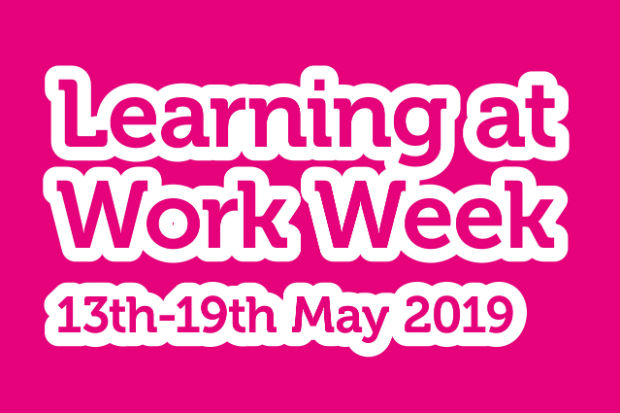 Logo of Learning at Work Week 2019, with dates, 13 to 19 May