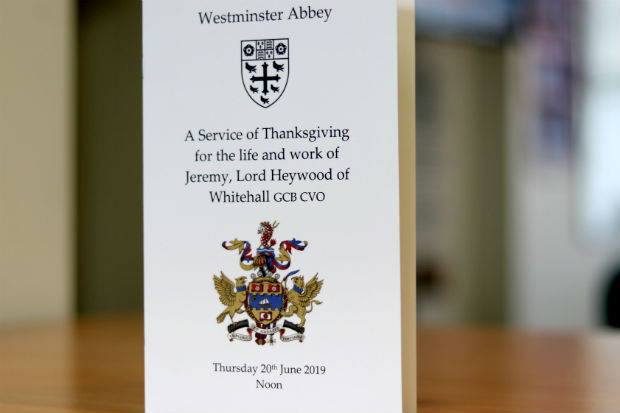 Front cover of programme for the memorial service for Jeremy Heywood
