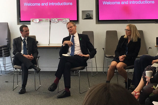 Matthew Rycroft, Permanent Secretary, Department for International Development, flanked by Kate Josephs and David Hallam at a leadership discussion event