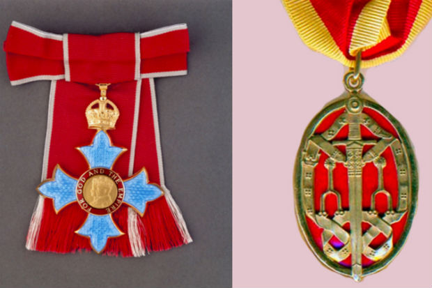 Two honours medals side by side with ribbons attached.