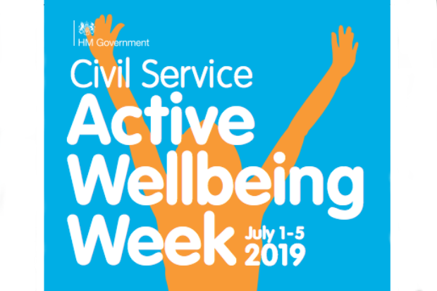 Graphic with text 'Civil Service Active Wellbeing Week July 1-5 2019' superimposed on a silhouette of the top half of a person with arms aloft