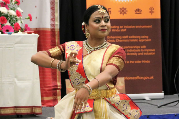 Dancer dancing the classical Indian dance, Bharatanatyam