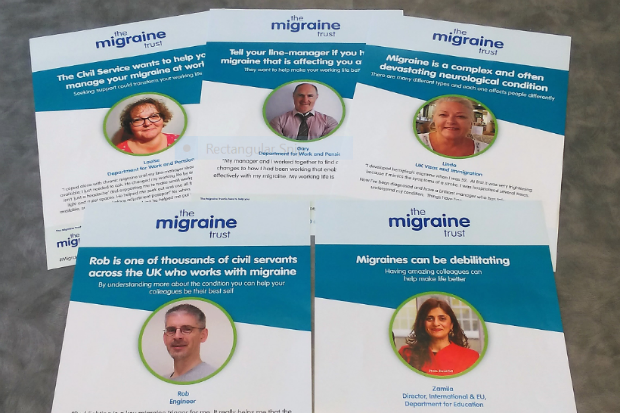 Set of five posters with personal stories of living with migraines