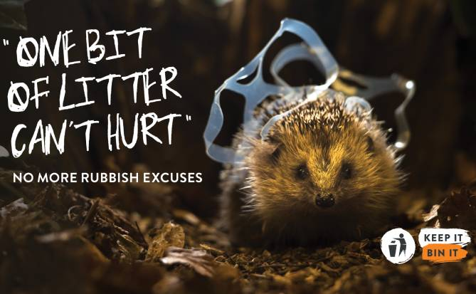 Poster for the Keep It, Bin It anti-littering campaign, showing a hedgehog entangled in plastic packaging against the words, One bit of litter can't hurt, and, underneath, the slogan, No more rubbish excuses
