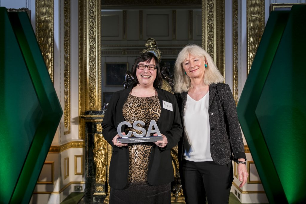 Paula Holbrook-Witt, winner of the Inspirational Leadership Award, with award presenter Dame Shan Morgan, Permanent Secretary for the Welsh Government
