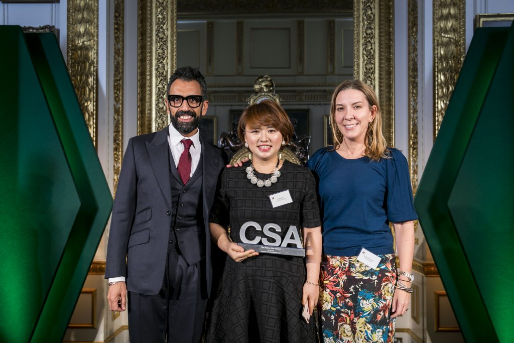 Cindy Kim, winner of the Rising Star Award, with award presenter Antonia Romeo, Permanent Secretary for the Department for International Trade